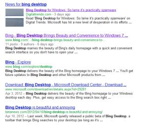 Google Bing Desktop Results