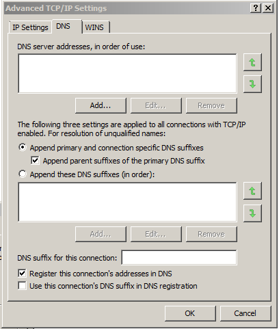Advanced TCP/IP Settings