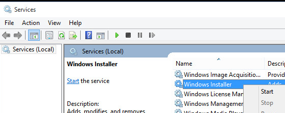 Start the Windows Installer service